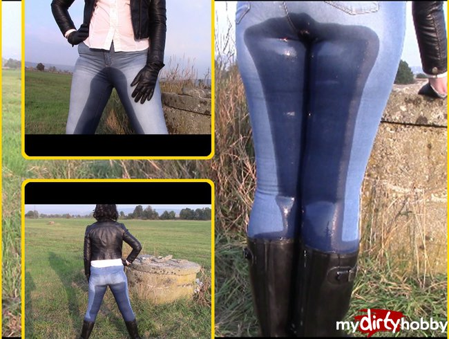 Jeans pissing in wellies