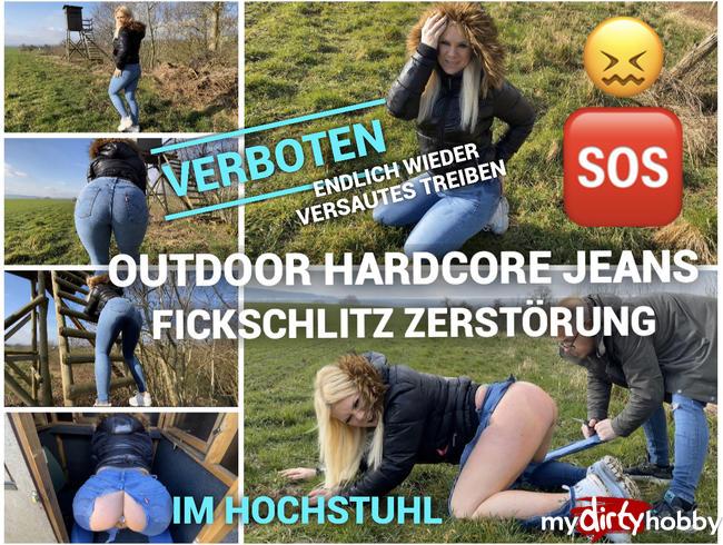 Verbotener Outdoor Jeans Piss Fetz Spermaarsch - endlich wieder versautes treiben im Hochstuhl